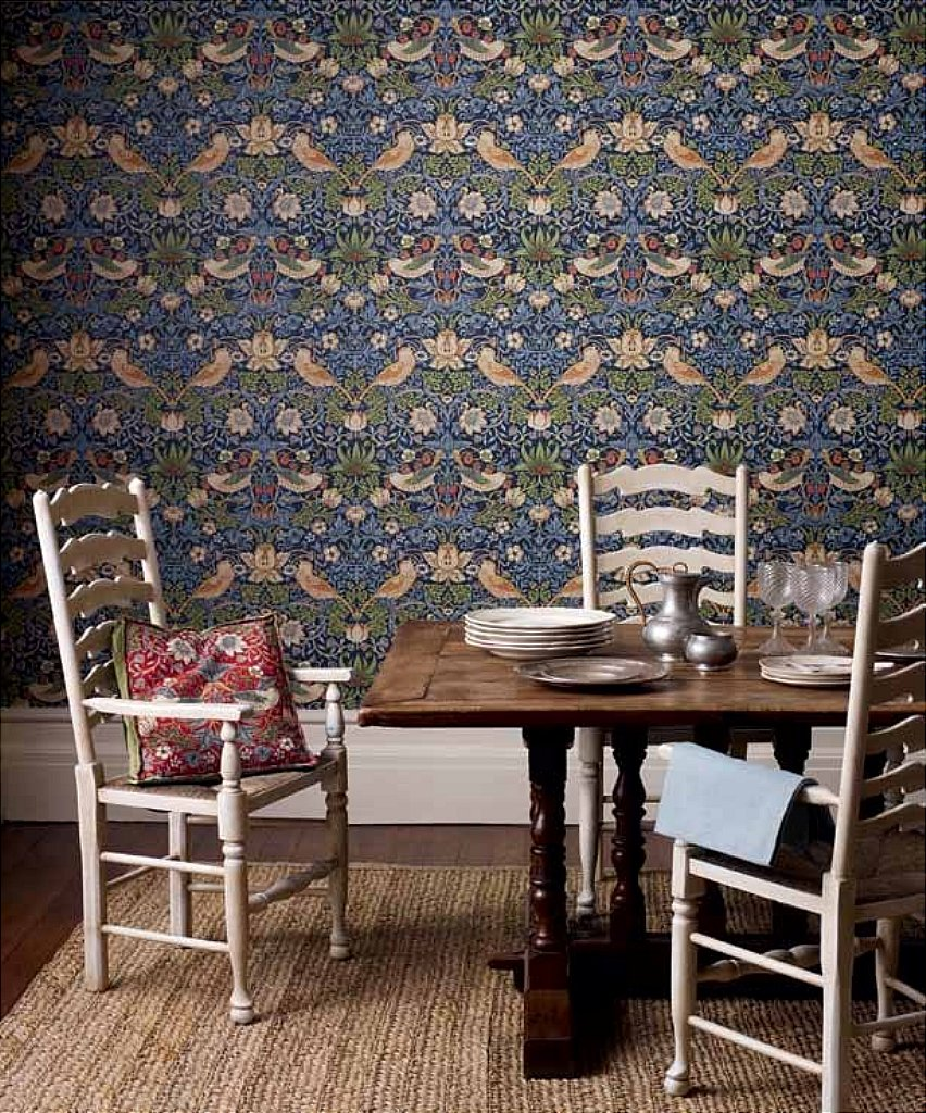 william morris strawberry thief wallpaper. Black Bedroom Furniture Sets. Home Design Ideas