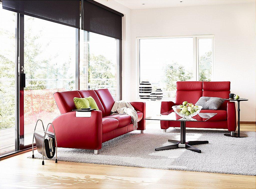 stressless arion sofas in chilli red. Black Bedroom Furniture Sets. Home Design Ideas