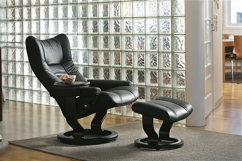 stressless wing chair and stool