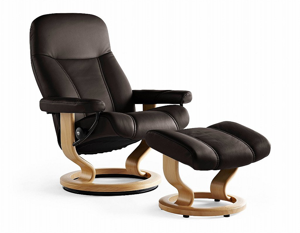 stressless ambassador chair and stool. Black Bedroom Furniture Sets. Home Design Ideas