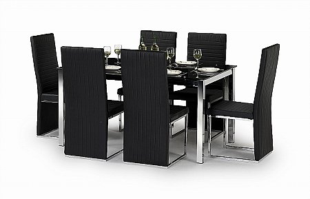 Tempo Chrome and Black Glass Dining Table