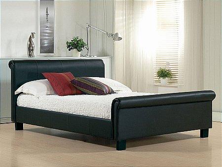 Aurora Black Leather Bedstead