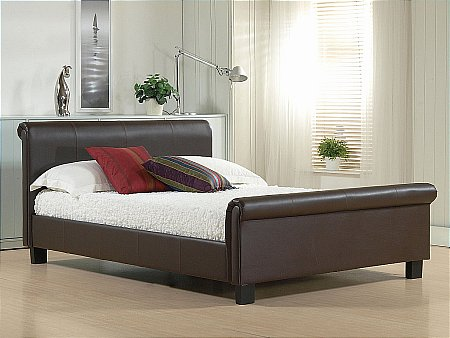 Aurora Brown Leather Bedstead