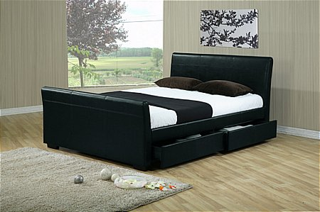 Houston Black Bedstead with Drawers