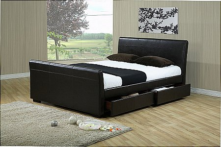 Houston Brown Bedstead with Drawers