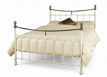 Edwardian II Bedstead in Ivory with Antique Bronze
