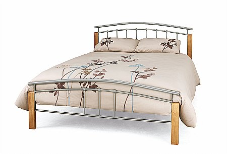Tetras Bedstead in Silver and Beech