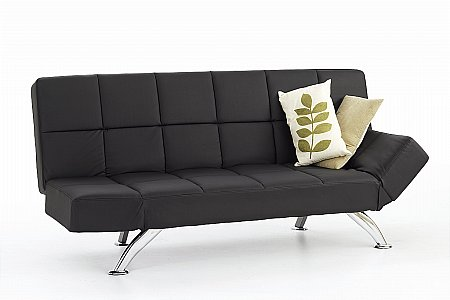 Venice Faux Leather Sofa Bed in Black