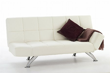 Venice Faux Leather Sofa Bed in Orchid White