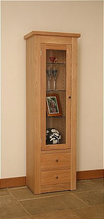 Elements Narrow Glazed Bookcase with 2 Drawers