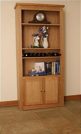 Elements Tall Wide Open Bookcase with Bottom Doors