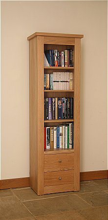 Elements Narrow Open Bookcase with Drawers