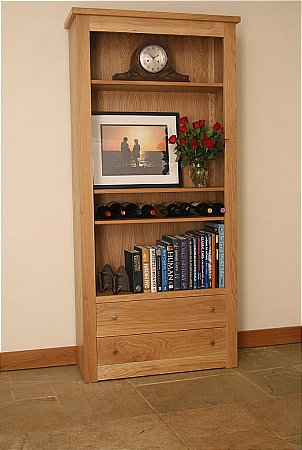 Elements Tall Wide Open Bookcase with Drawers