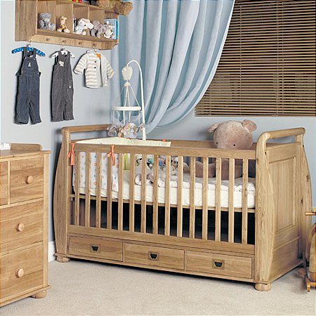Amelie Oak Cot Bed with 3 Drawers