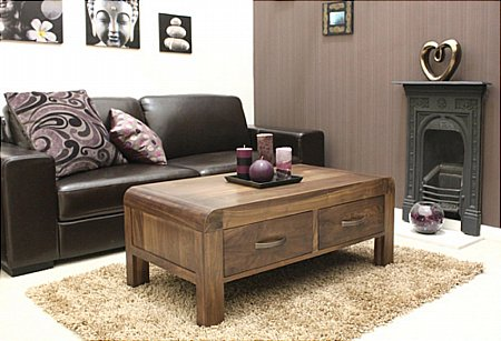 Shiro Walnut 4 Drawer Coffee Table