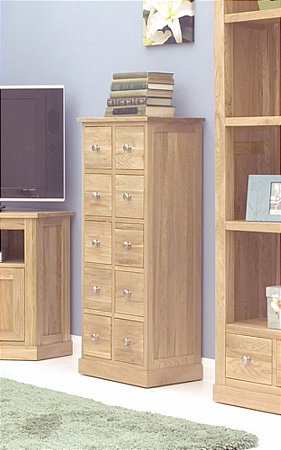 Mobel Oak Multi Drawer DVD Storage Chest