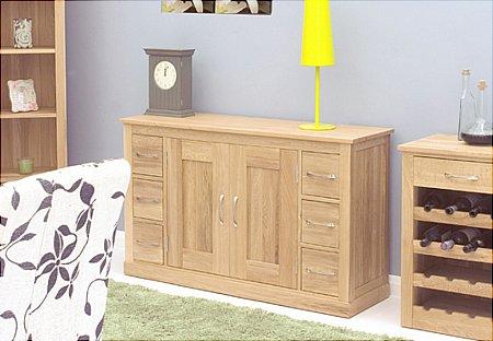 Mobel Oak 6 Drawer Sideboard