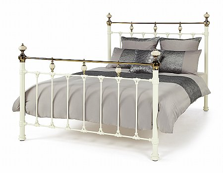 Abigail Ivory and Dark Brass Bed Frame