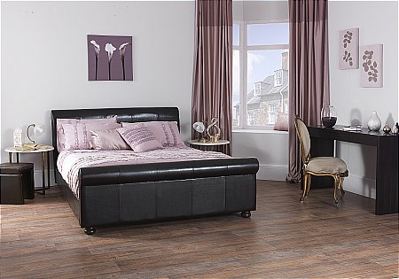 Ferrara Faux Leather Bedstead in Brown
