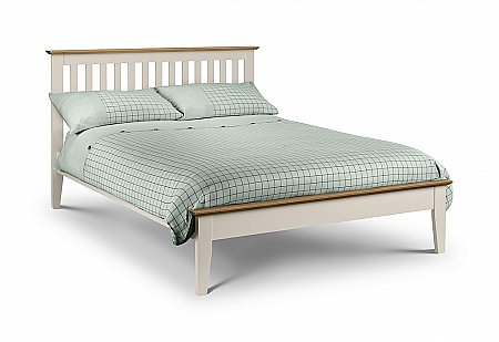 Salerno Bed in Stone White and Oak
