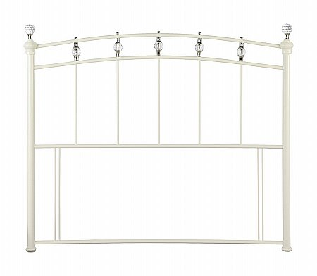 Sophie Metal Headboard in Stone White with Crystal Finial