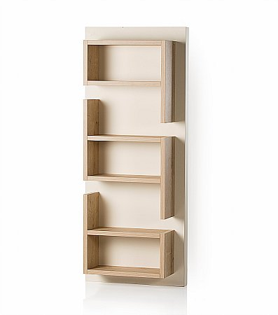 Fusion Vertical Shelf Unit in Oak and Cream