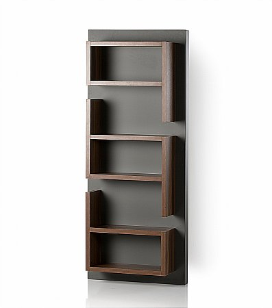 Fusion Vertical Shelf Unit in Walnut and Grey