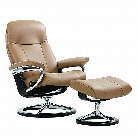 Garda Leather Recliner with Signature Base