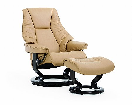 Live Leather Recliner with Classic Base