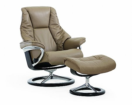Live Leather Recliner with Signature Base