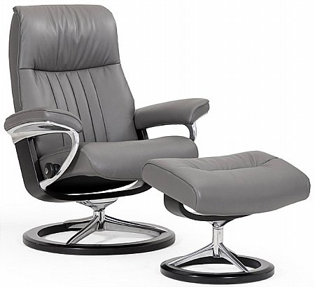 Crown Leather Recliner with Signature Base
