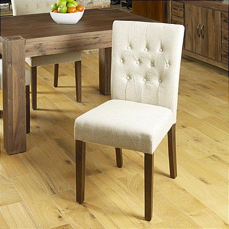 Shiro Walnut Flare Pair of Dining Chairs in Cream