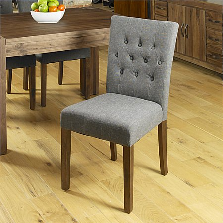 Shiro Walnut Flare Pair of Dining Chairs in Grey