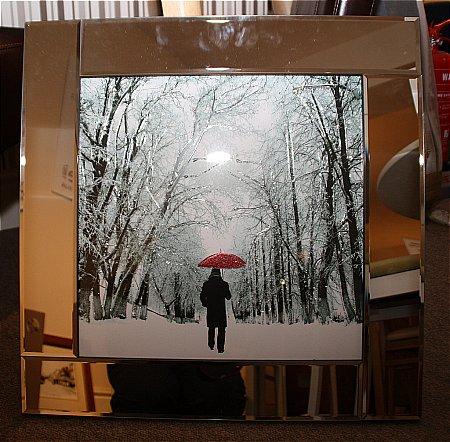 Red Umbrella Liquid Art Print and Frame
