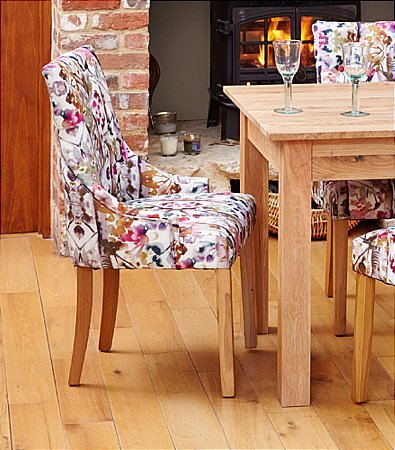 Mobel Oak Pair of Upholstered Dining Chairs