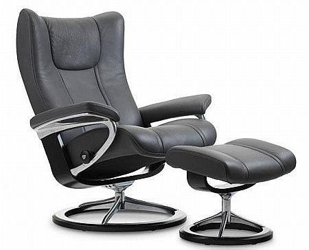 Wing Leather Recliner with Signature Base