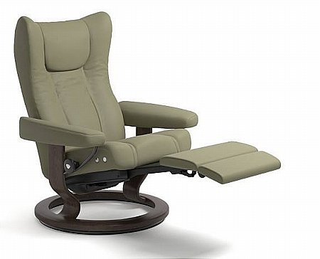 Wing Leather Recliner with Leg Comfort