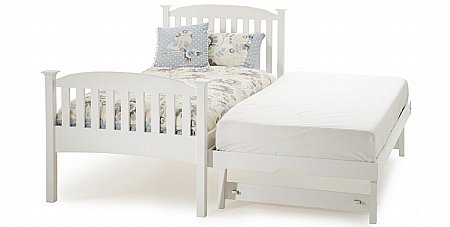 Eleanor High Foot End Bed with Guest Bed White