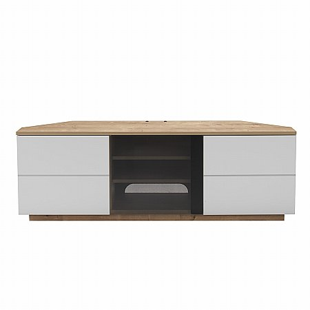 Milan Corner TV Stand in Oak and White