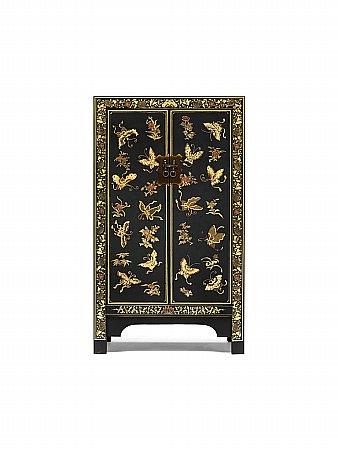 Nine Schools Oriental Decorated Black Medium Cabinet