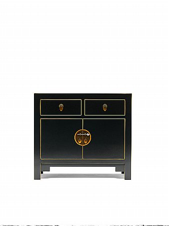 Nine Schools Black and Gilt Small Sideboard