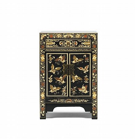 Nine Schools Oriental Decorated Black Small Cabinet