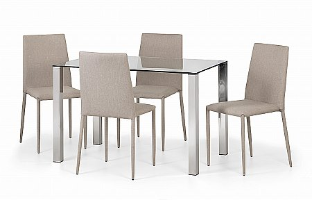 Enzo Glass Dining Table and 4 Jazz Chairs