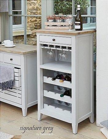 Signature Grey Wine Rack Cabinet