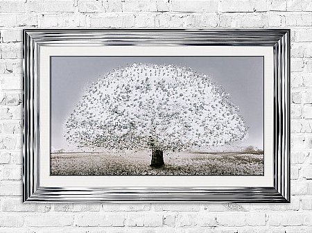 White Blossom Tree Print and Frame