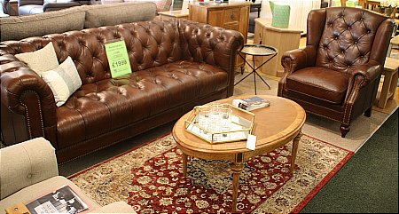 Buckingham 3.5 Seater Leather Sofa and Wing Chair