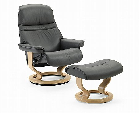 Sunrise Large Swivel Chair and Footstool Classic Base