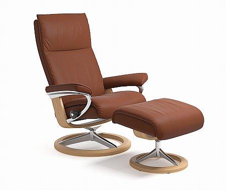 Aura Medium Swivel Chair and Footstool Signature Base