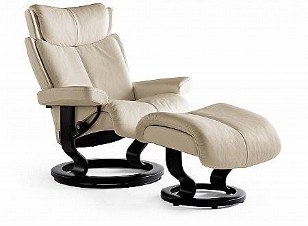 Magic Medium Swivel Chair and Footstool Classic Base
