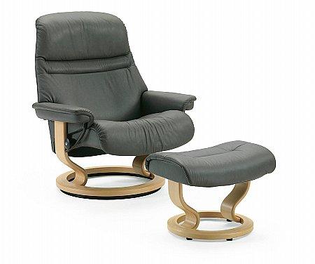Sunrise Medium Swivel Chair and Footstool Classic Base
